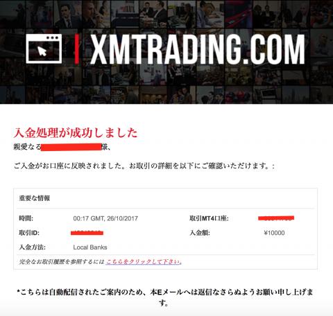 xm.com入金完了メール