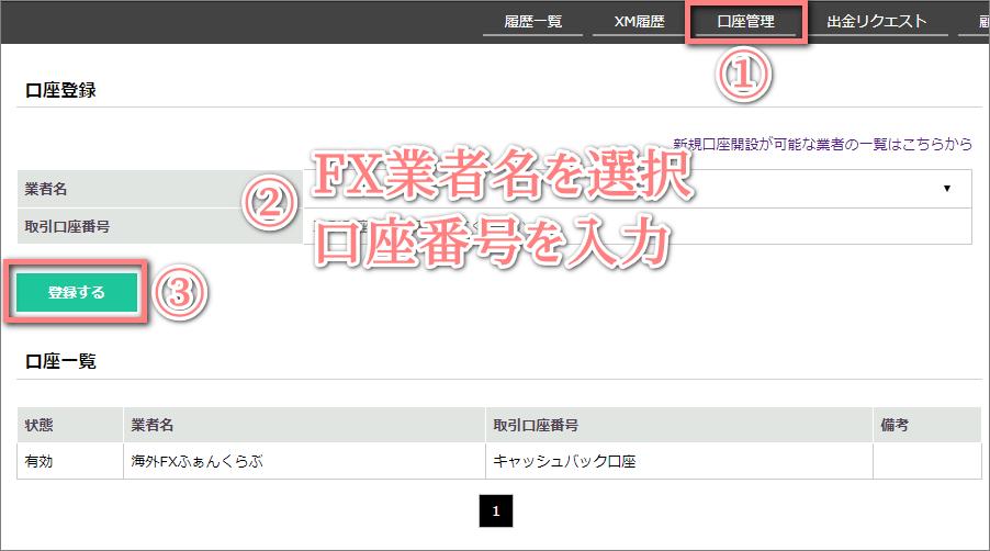 TTCMキャッシュバック口座登録