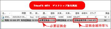 TitanFX_MT4デスクトップ取引画面_スマホサイズ