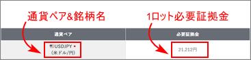 証拠金目安一覧表の見方_スマホ画面