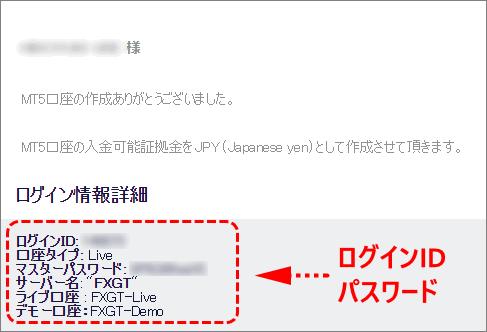 FXGT_MT5_ログイン情報_メール