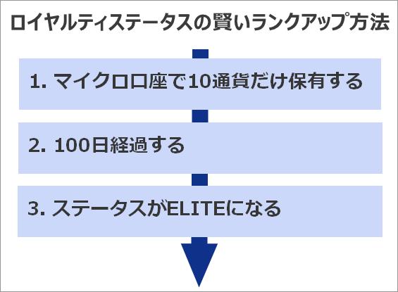 XMロイヤルティステータスの賢いランクアップ方法のステップ図