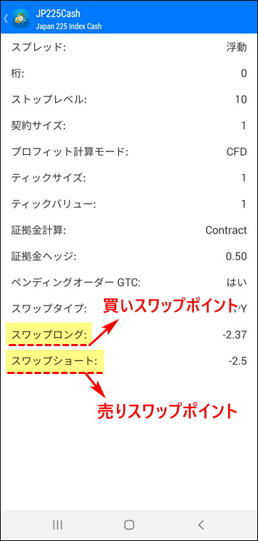 XM_スマホ画面_JP225スワップポイントの確認