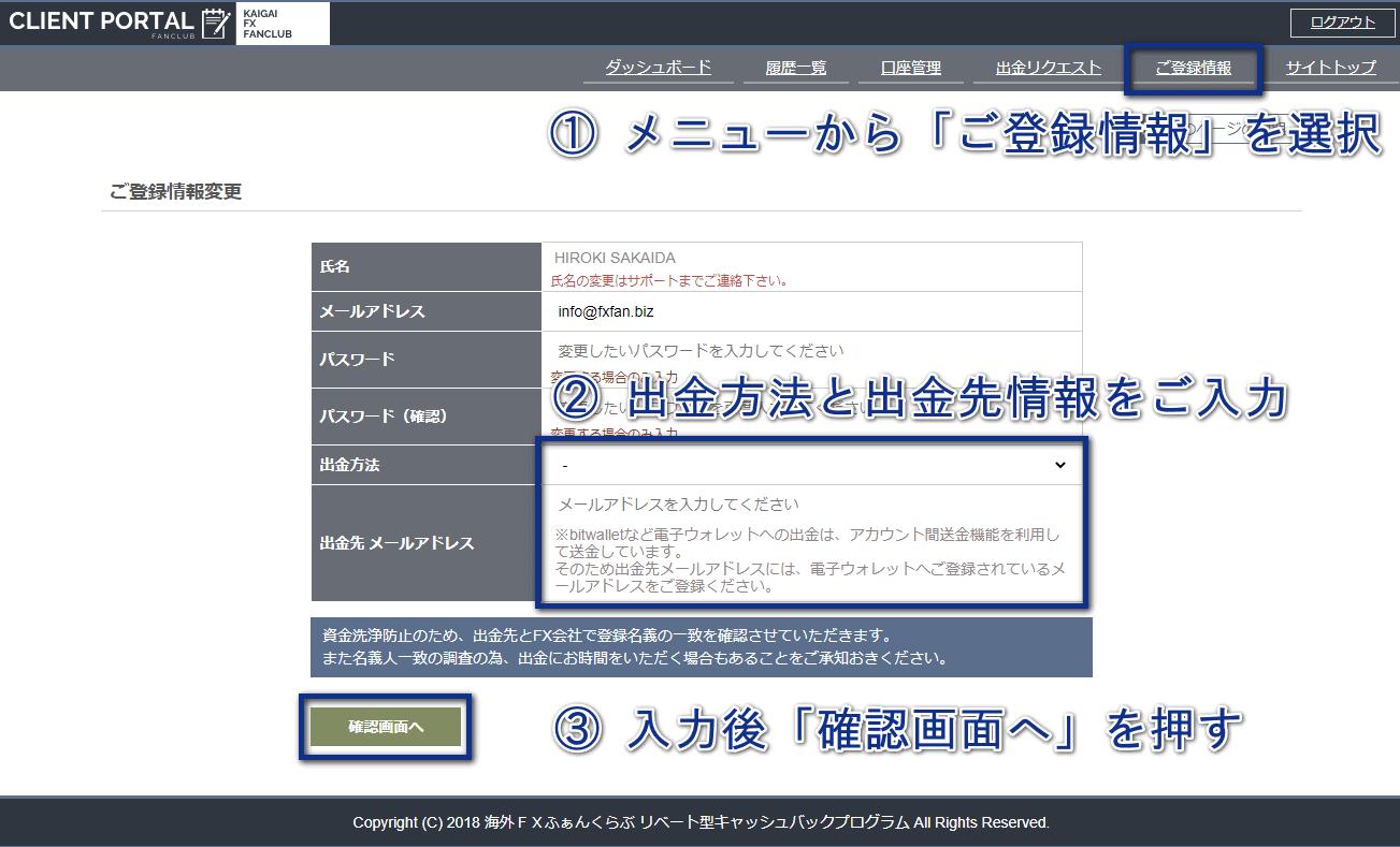 海外FXふぁんくらぶご登録情報変更