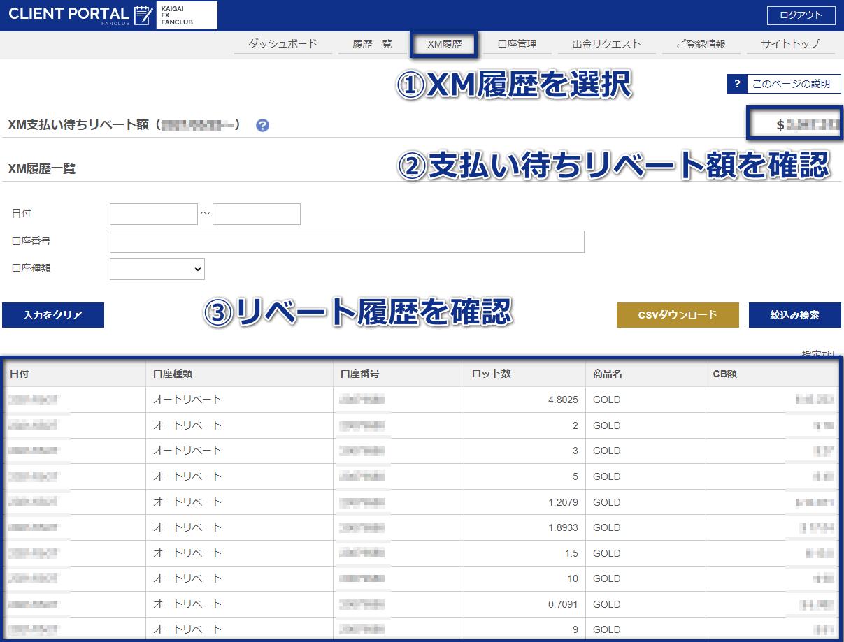 XMTradingリベート履歴PC版
